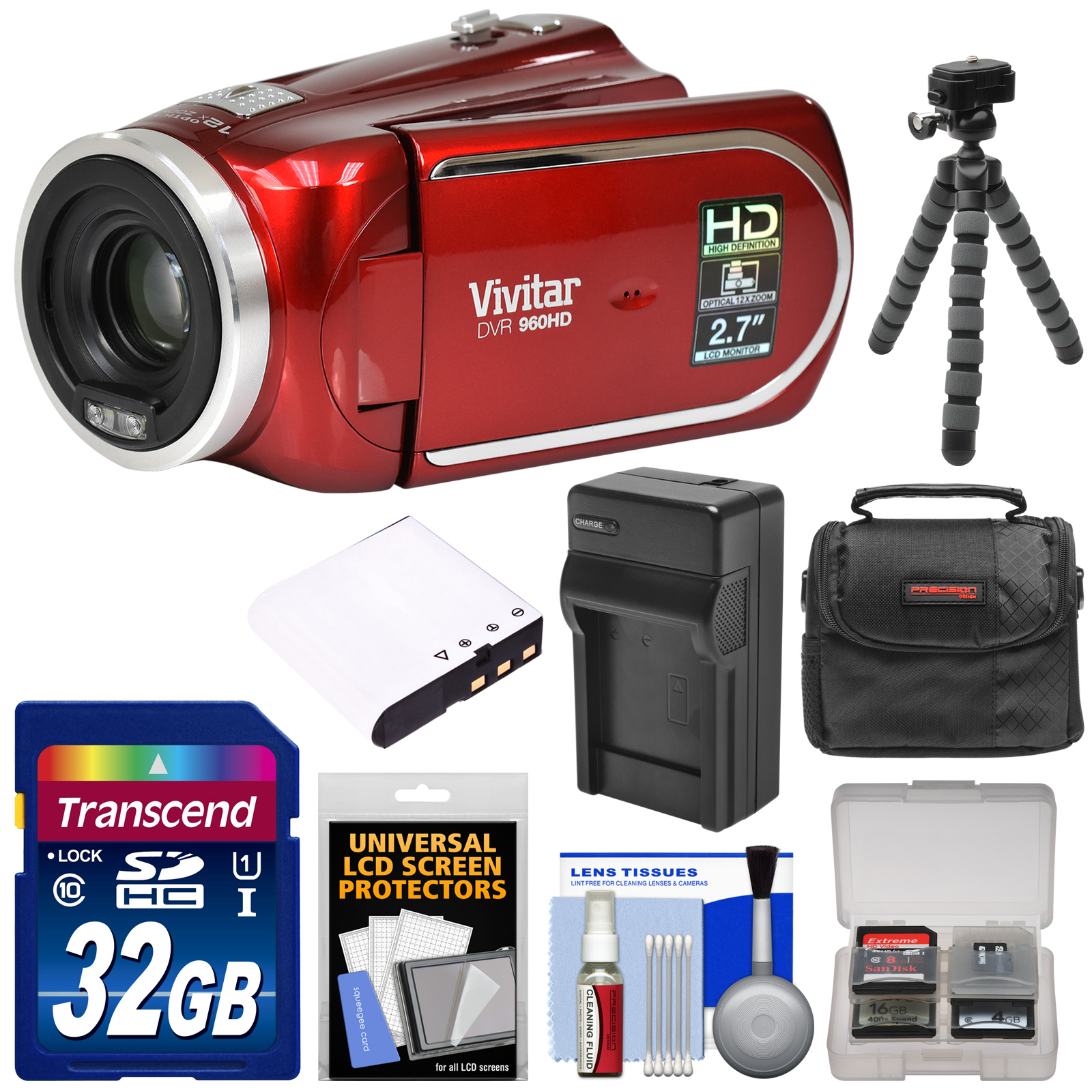 Vivitar DVR 960HD 1080p HD 12x Optical Zoom Video Camera Camcorder (Red) with 32GB Card + Battery & Charger + Case + Tripod + Kit
