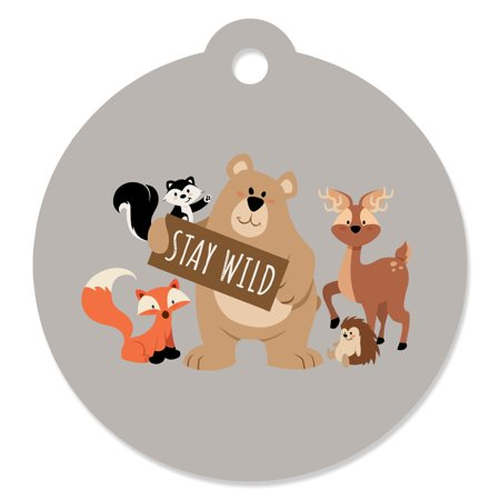 Stay Wild - Forest Animals - Woodland Baby Shower or Birthday Party Favor Gift Tags (Set of 20) - Print Tags For Favors