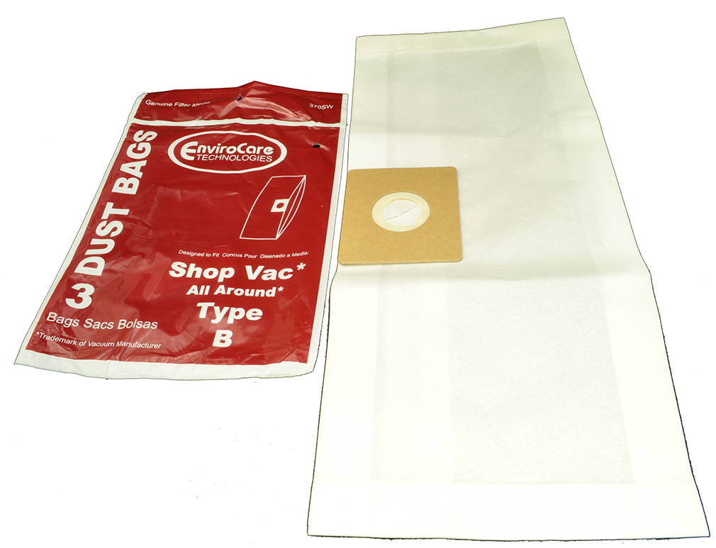 3  Shop Vac Filter Bags Type B for use with Model QAM70