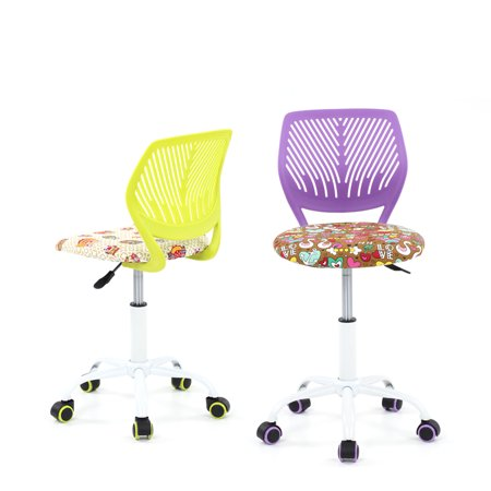 Ikayaa Fashion Adjule Fabric Child Desk Chair Swivel Office Computer Task Stool For Kids