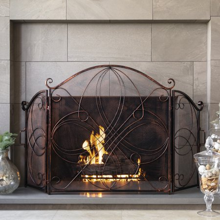 Best Choice Products 3-Panel 55x33in Wrought Iron Fireplace Safety Screen Decorative Scroll Spark Guard Cover Framed Fireplace Screen