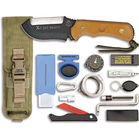 Tops Knives Xcestbct Xcest Bravo  Cross Country Emergency Support Tool  With Brown Canvas Micarta H Multi Colored