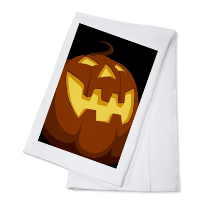 Halloween Jack o'Lantern - Vector - Lantern Press Artwork (100% Cotton Kitchen Towel)](Covered Dish Ideas For Halloween Party)