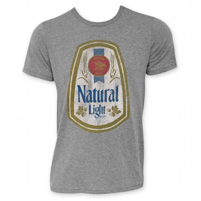Natural Light 24916XXL Mens Grey Full Color Label T-Shirt, 2X-Large