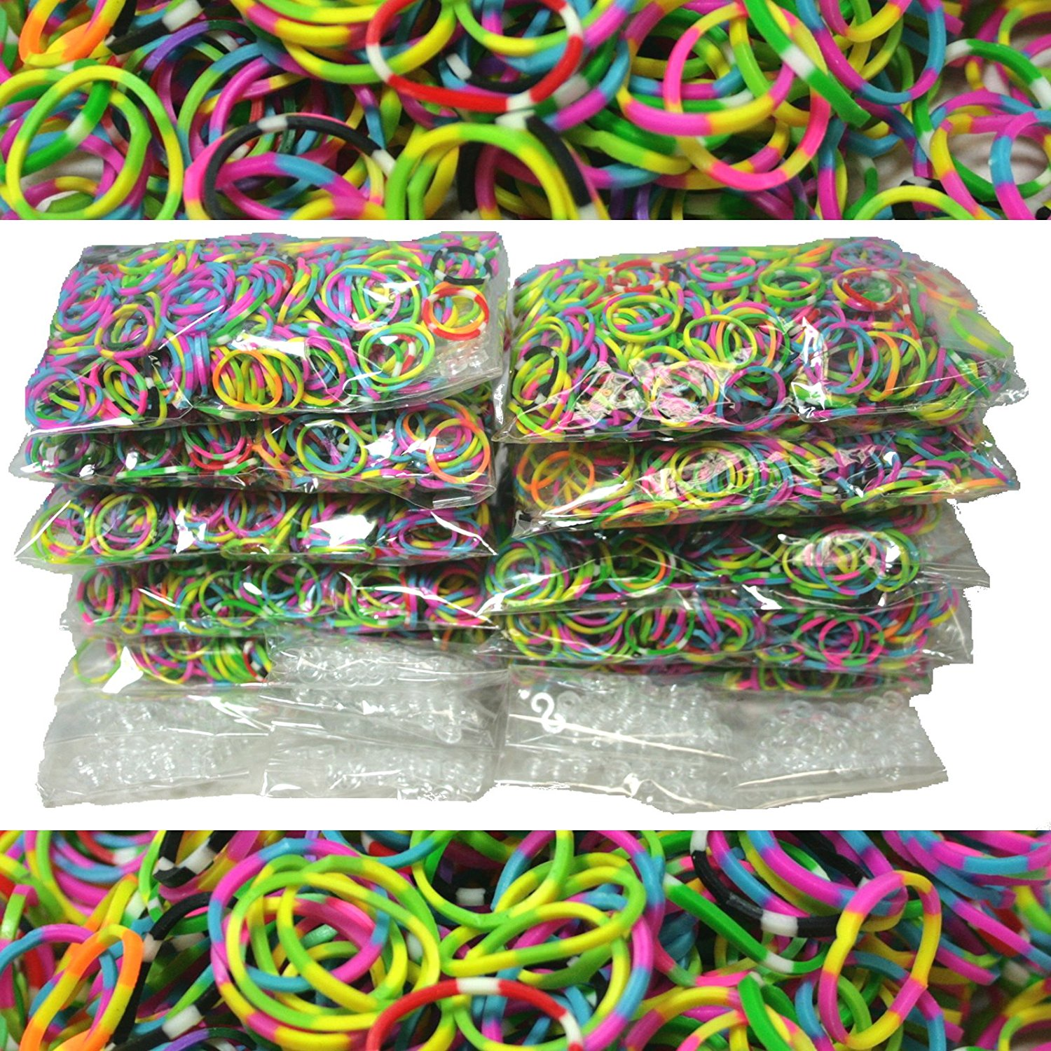 6000 Piece Tie Dye Rubber Band and S-Clips Loom Art and Craft Kids Rainbow Bracelet Refill Pack, USA, Brand Bluedot Trading