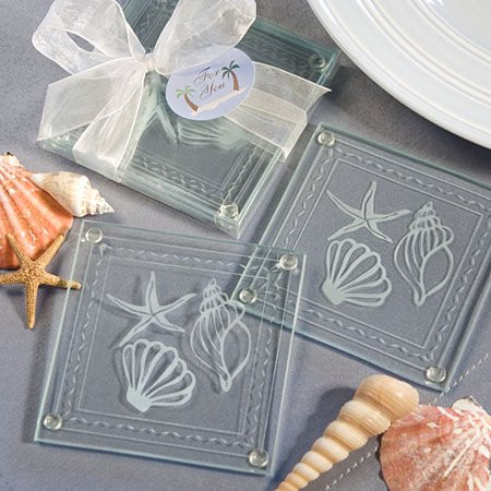 - Beach Themed Glass Coaster Favors