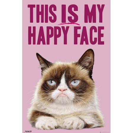 Grumpy Cat- Happy Face Poster - 24x36 - Happy Halloween Poster