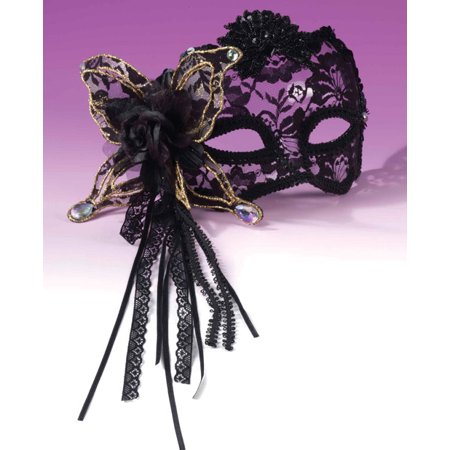 Karneval 1/2 Mask - Butterfly, Rose Lace Black