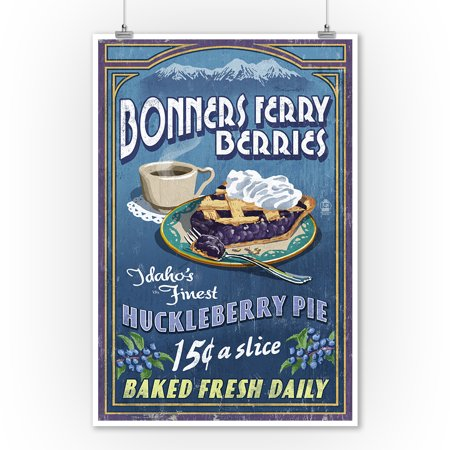 Bonners Ferry, Idaho - Huckleberry Pie Vintage Sign - Lantern Press Artwork (9x12 Art Print, Wall Decor Travel Poster)