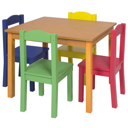 Best Choice Products Kids Wooden Table and 4 Chair Set Furniture-