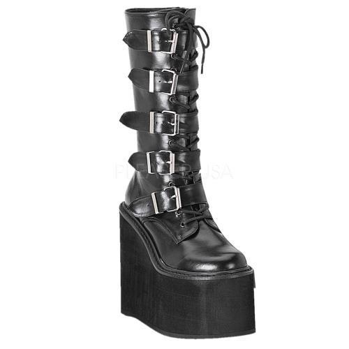 SWI220 B PU Demonia Vegan Boots Womens BLACK Size: 12 by