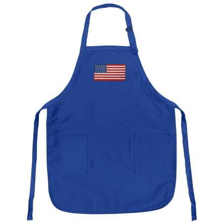 American Flag Apron Mens or Womens for Grilling Barbecue Kitchen Tailgating USA Flag Aprons Famous Broad Bay Quality ()