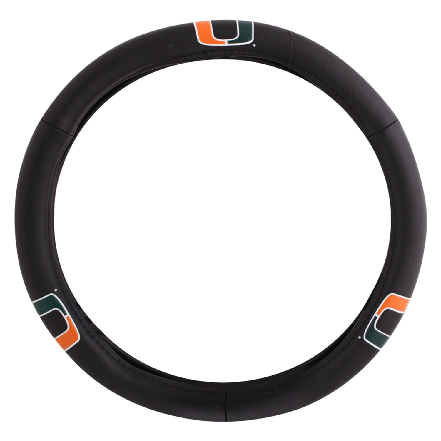 Black Leather Car Auto Steering Wheel Cover, University of Miami Hurricanes