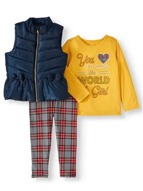 Wonder Nation Puffer Vest, Long Sleeve Tee & Printed Jeggings, 3pc Outfit Set (Toddler Girls)