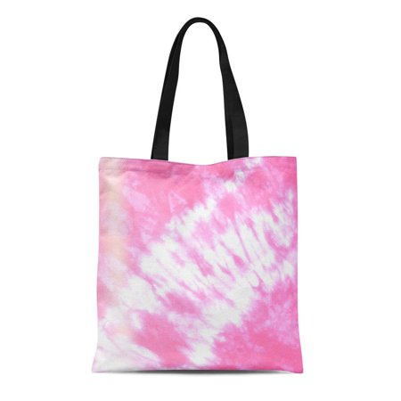 ASHLEIGH Canvas Tote Bag Abstract Batik Tie Dyed on White Hand Dye Fabrics Durable Reusable Shopping Shoulder Grocery Bag