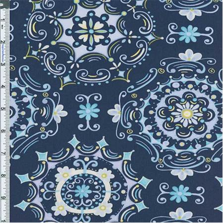 Blue Tea Garden Dream Right dcor Print, Fabric By the Yard