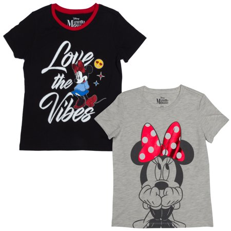 6a8bec246 Disney - Minnie Mouse Love the Vibes and Big Bow Graphic T-Shirts, 2-Pack  Set (Little Girls & Big Girls) - Walmart.com