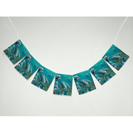 GCKG Ocean Animal Underwater World with Dolphins and Coral Reef Banner Bunting Garland Flag Sign for Home Family Party Decoration - Coral Reef Decoration