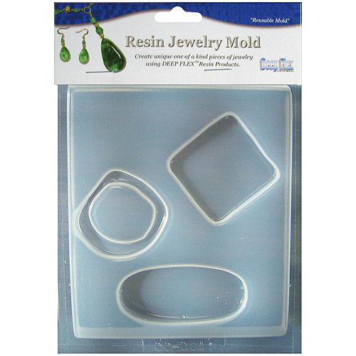 Resin Jewelry Reusable Plastic Mold 4 Cavity 4-3/4`X7`-Large Abstract 3 On 1 Multi-Colored