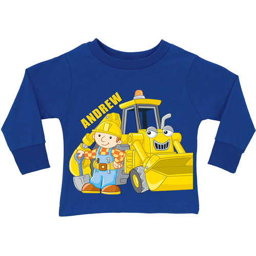 Personalized Bob the Builder Here Goes! Scoop Toddler Royal Blue Long Sleeve Tee