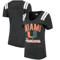 Miami Hurricanes 5th & Ocean by New Era Women's Football Tri-Blend V-Neck T-Shirt - Heathered Black