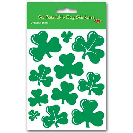 Fan Club Sticker - Club Pack of 48 Green St. Patrick's Day Shamrock Sticker Sheets 7.5