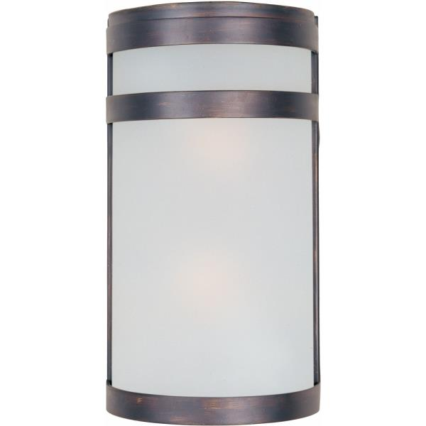 """Maxim Lighting Arc - 12"""" 18W 2 LED Outdoor Wall Mount, Oil Rubbed Bronze Finish with Frosted Glass"""