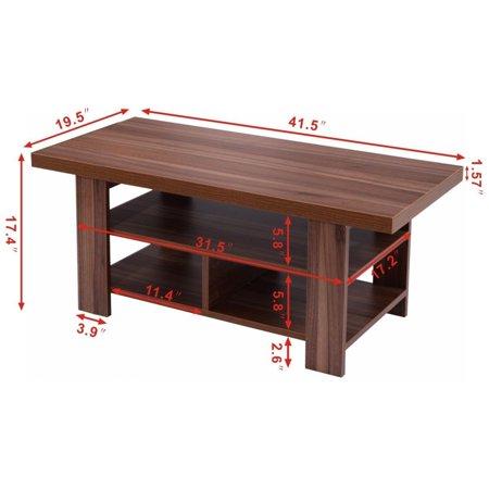 wood coffee table rectangle modern living room furniture w storage shelves. Black Bedroom Furniture Sets. Home Design Ideas