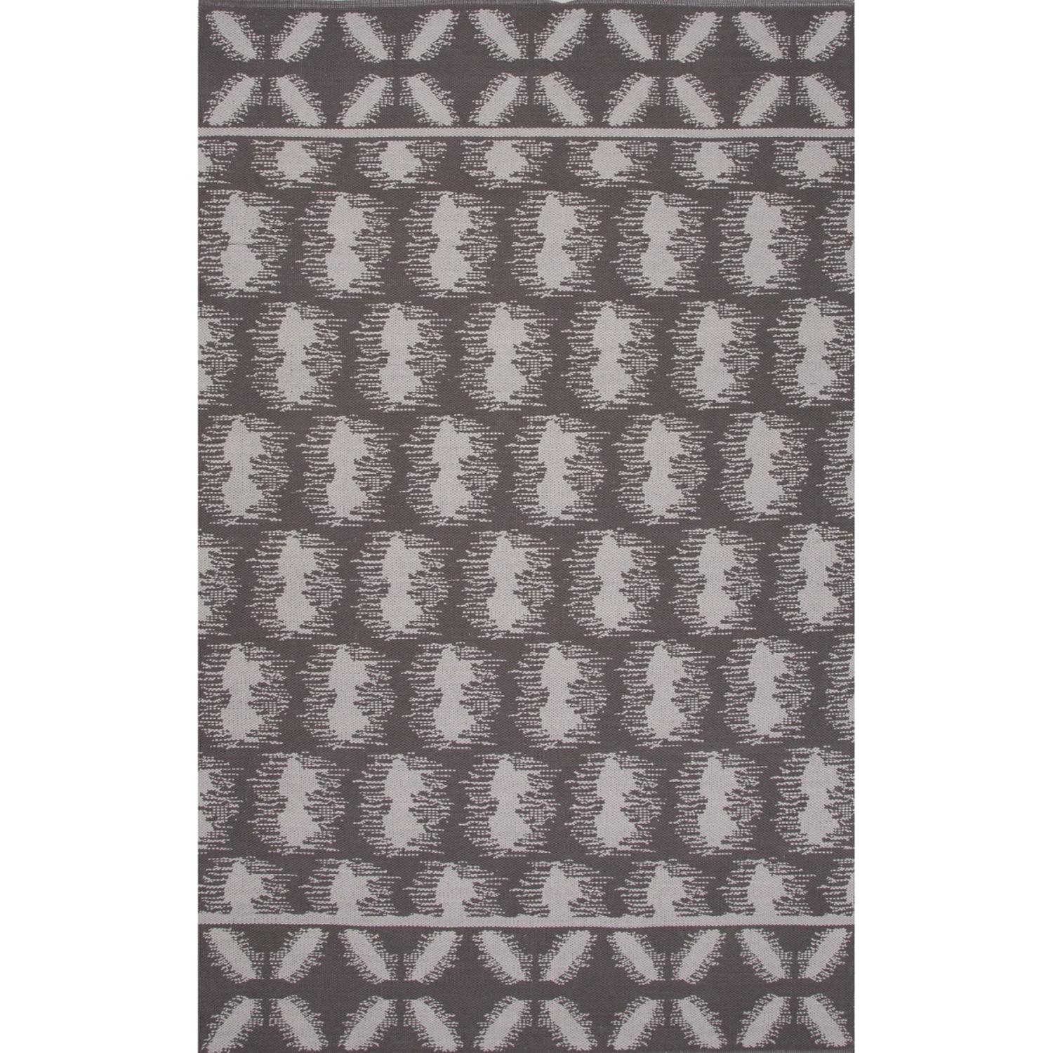 5' x 8' Mink Taupe and Polar White Flat Weave Reversible Cloud Area Throw Rug