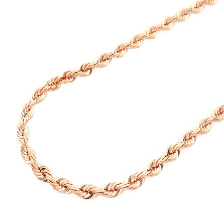 Solid 14k Rose Gold Diamond Cut Rope Chain Necklace 2mm-7mm 20