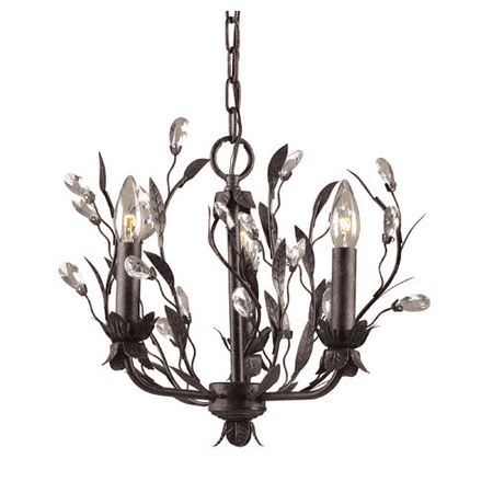 Chandeliers 3 Light With Deep Rust Finish Crystal Droplets Candelabra 16 inch 180 Watts - World of Lamp