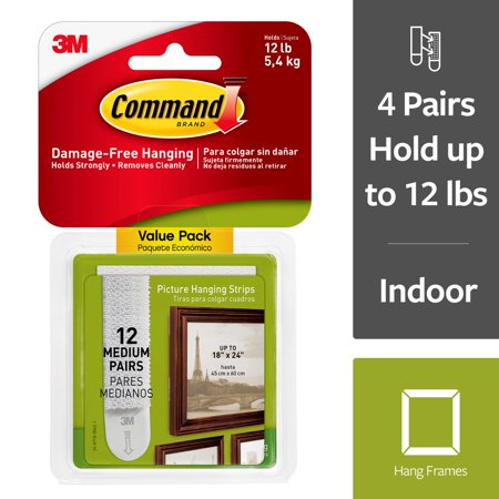 Hanging Garden Pictures - Command Damage-Free Medium Picture Hanging Strips, 12 Pairs (24 Strips)