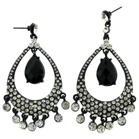 Black & Silver-Tone Colored Metal Dangle With Crystal Accents -