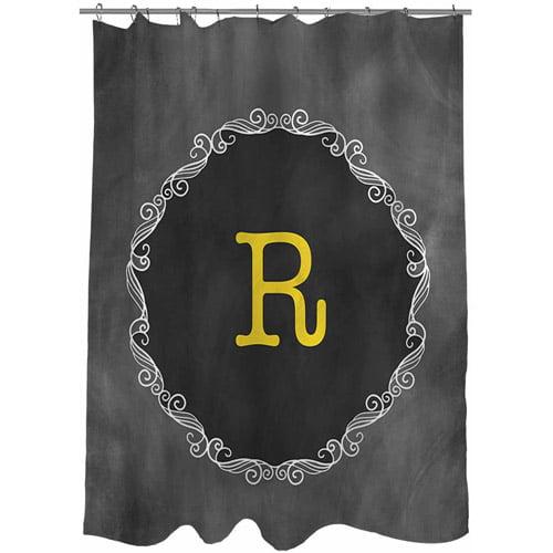 MWW, Inc. Thumbprintz Chalkboard Scroll Monogram Shower Curtain, Yellow