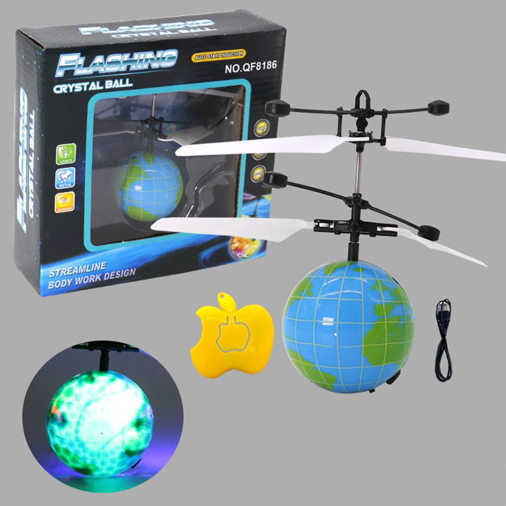 LED Remote Flying Globe/Soccer Flying RC Drone Helicopter Infrared Induction Mini Aircraft for Kids/Teenager
