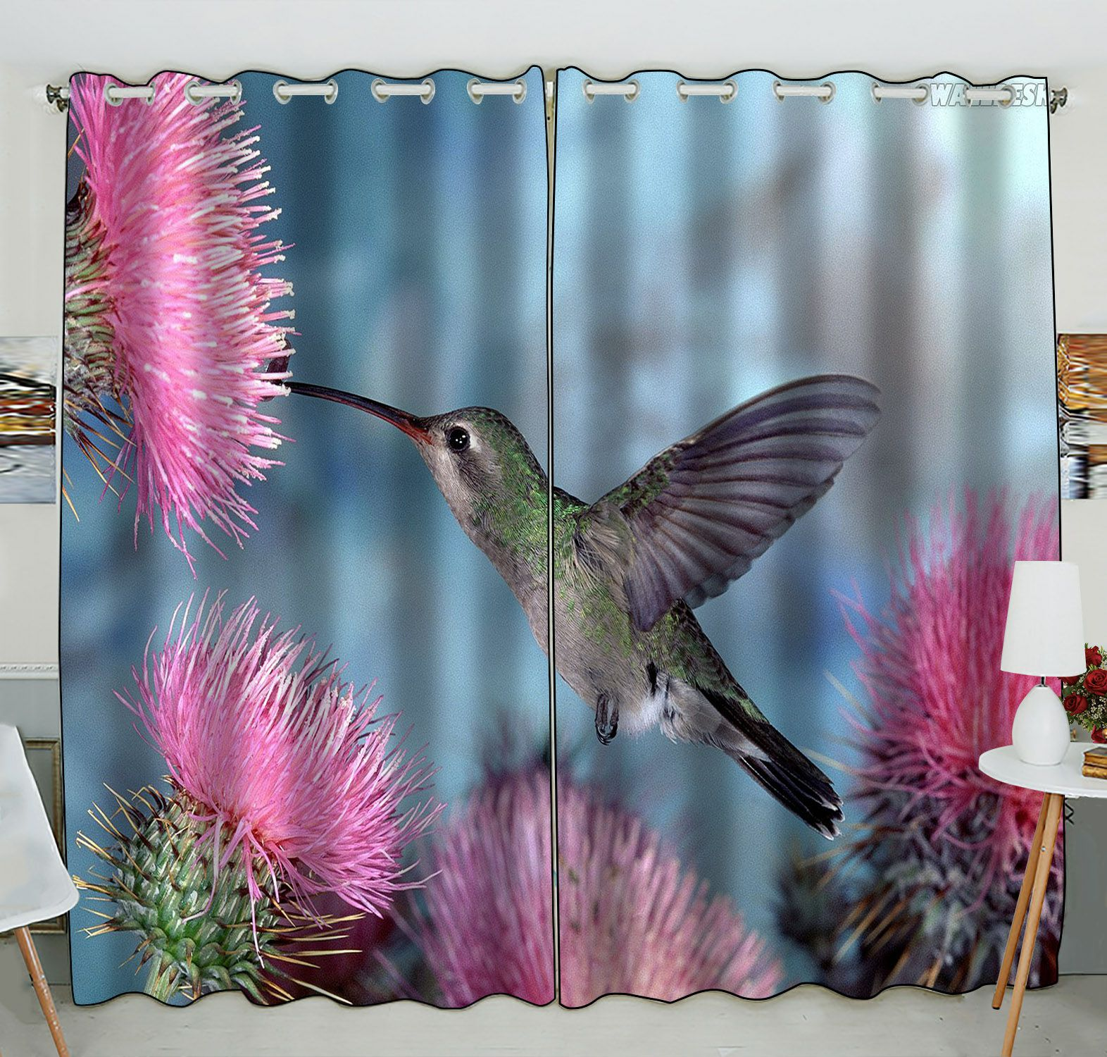 ZKGK Hummingbird Window Curtain Drapery/Panels/Treatment For Living Room Bedroom Kids Rooms 52x84 inches Two Panel