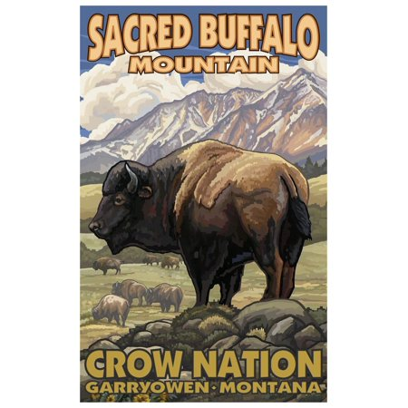 "Sacred Buffalo Mountain Montana Bison Herd Travel Art Print Poster by Paul A. Lanquist (12"" x 18"")"