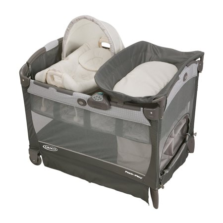 Graco Pack 'n Play Cuddle Cove LX Playard with Vibrating Baby Seat, Glacier (Baby Pack And Play Neutral)