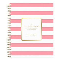 Zip Around Day Planner - Day Designer Academic Daily/Monthly New Pink Stripe Planner, 8