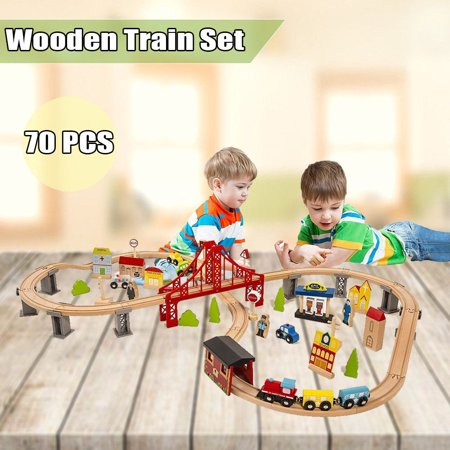70pcs Wooden Train Set Simulation Train Toy Learning Toy Kids Children Fun Road Crossing Track Railway Play Multicolor Train Track Town Starter - Digital Train