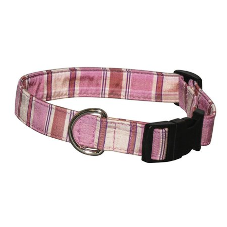 Elmo s Closet Silk Dog Collar Pink Plaid Extra Large Soft silk fabric