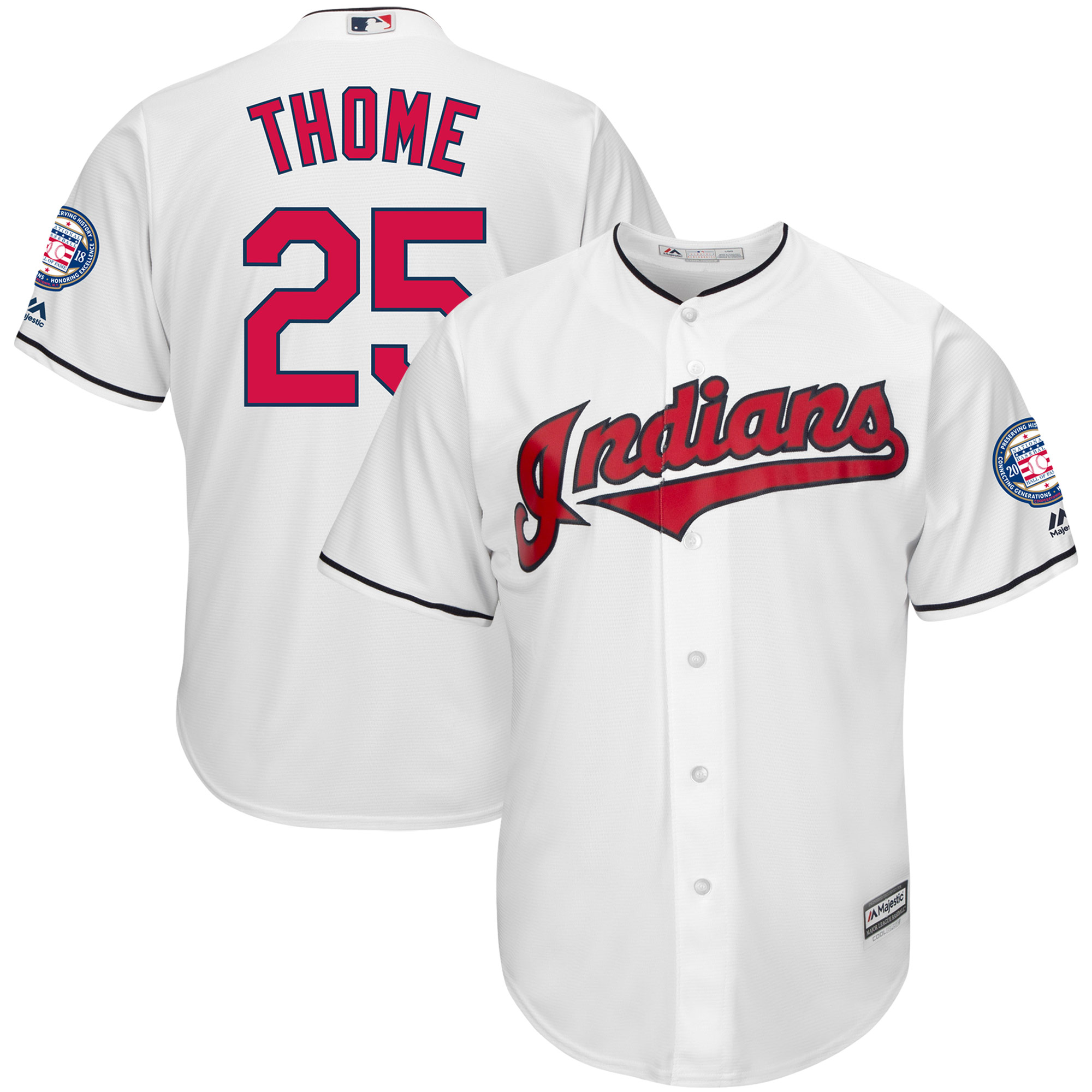 new concept b538d 074f2 Jim Thome Cleveland Indians Majestic Hall of Fame Induction Patch Cool Base  Jersey - White