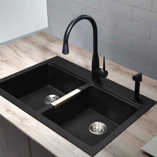 All-in-One Dual Mount Granite 33 in. 1-Hole 50/50 Double Bowl Kitchen Sink in Black Onyx