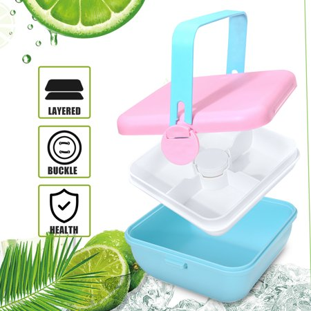 Lunch Container with 4-Partition Salad Bowl Portable Salad Bowl Portable Lunch Box Salad Bowl, Blue Pink Pink Salad Bowl
