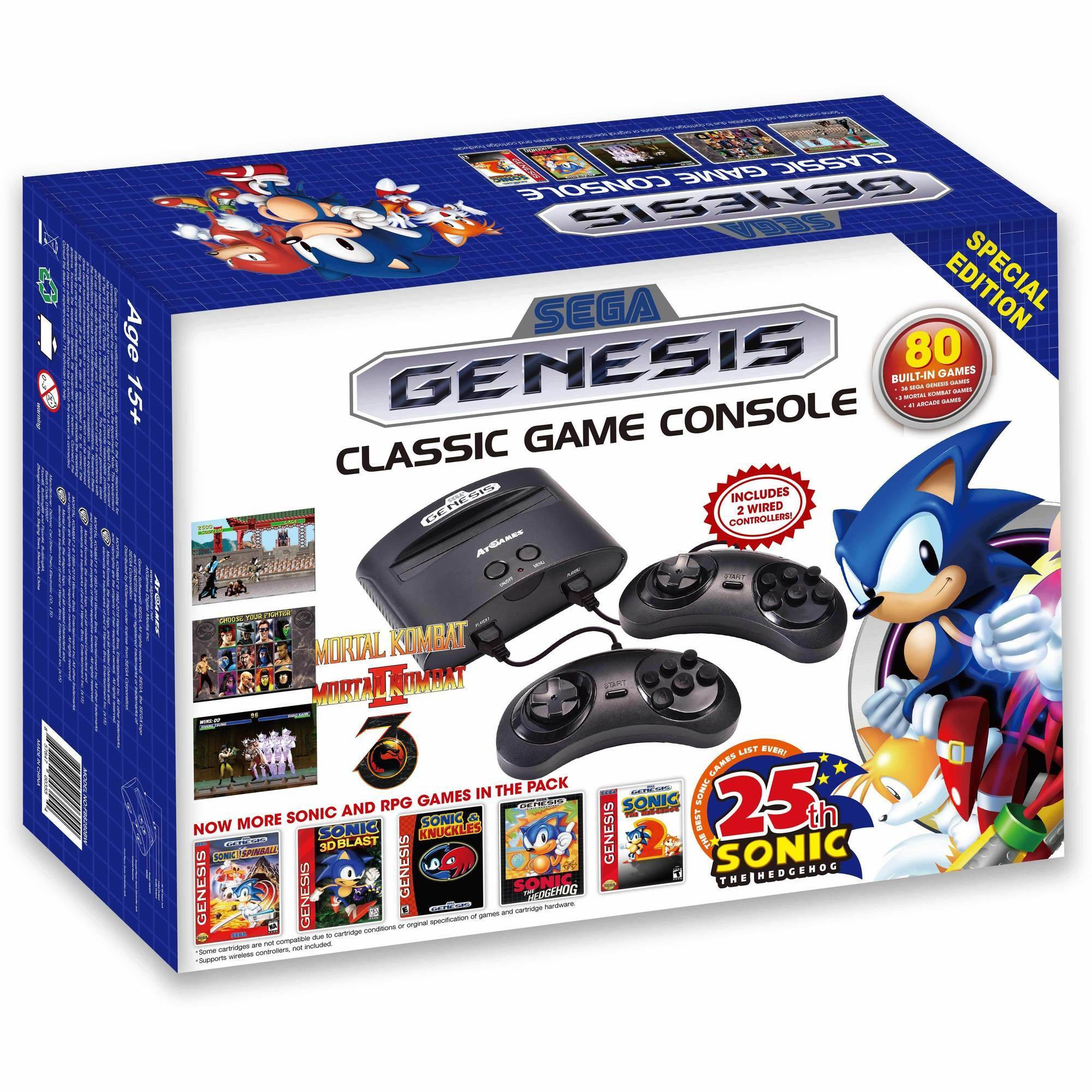 Image of SEGA Genesis Classic Game Console, 80 Built-In games With 2 Wired Controllers