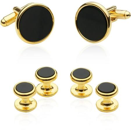 - Tuxedo Cufflinks and Studs - Black Onyx with Gold-Tone