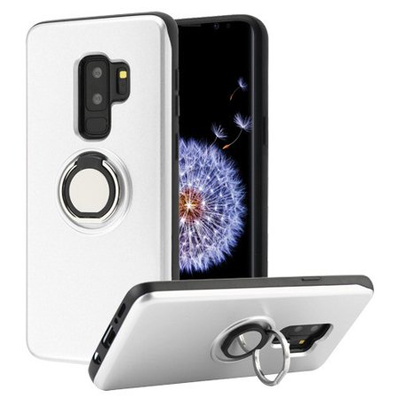 Samsung Galaxy S9 Plus, S9+ (6.2 in) - Phone Case Shockproof Multifunction Wallet Hybrid Rubber Rugged Case Cover Slim with Mirror + Rotatable Ring Stand (Lord Of The Rings Wallet Phone Case)