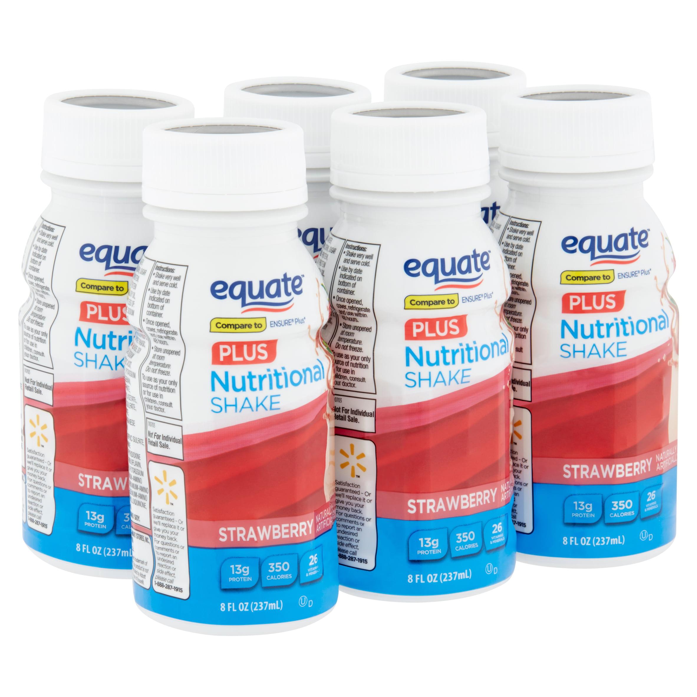 Equate Plus Strawberry Nutritional Shake, 8 fl oz, 6 count