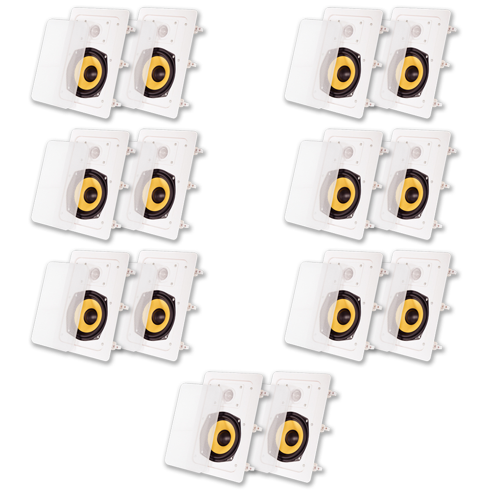 Acoustic Audio HD-525 In Wall Speakers Home Theater Surround Sound 7 Pair Pack