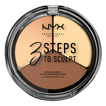 NYX Professional Makeup 3 Steps to Sculpt Face Sculpting Palette, Light